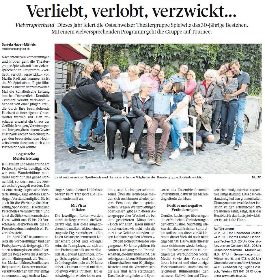 Zeitungsbericht im St. Galler Tagblatt vom 22.01.2018